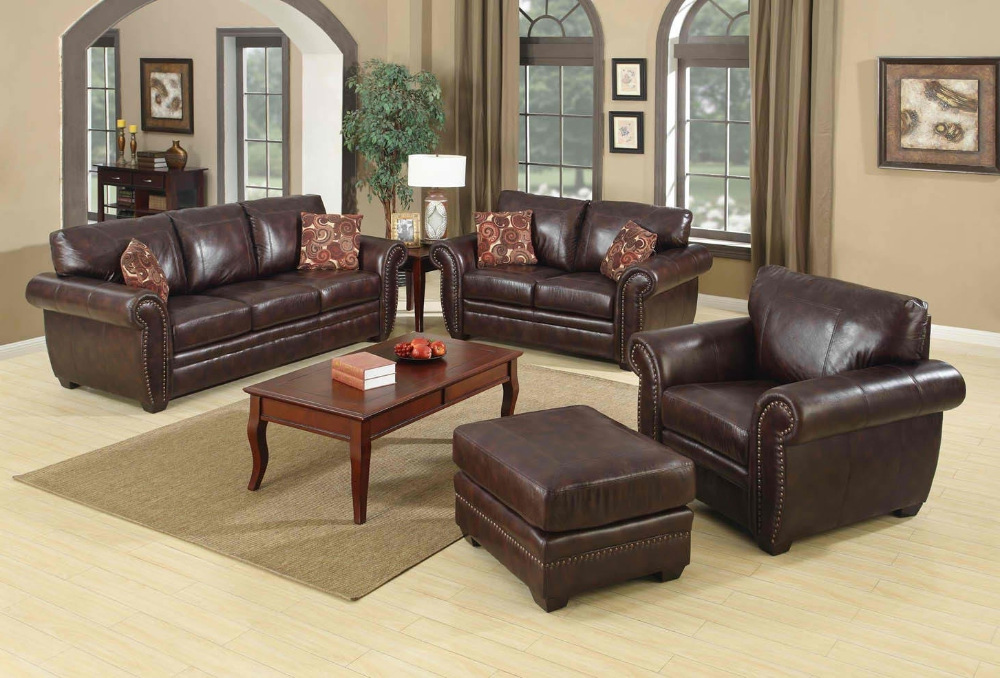 Well Known Brown Sofa With Square Wooden Table Thats The Color Matches With Intended For Brown Sofa Chairs (View 15 of 15)