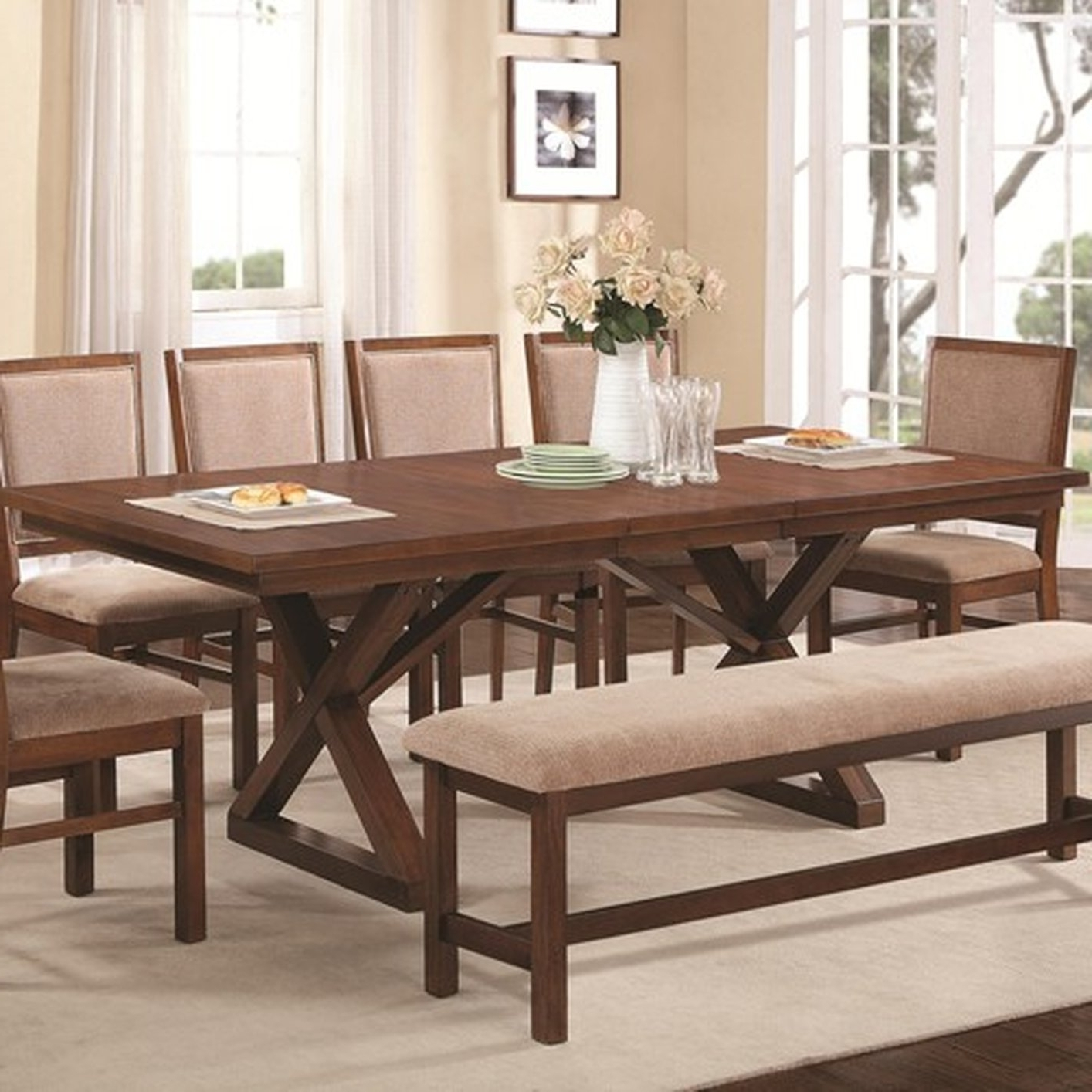 Well Known Brown Wood Dining Table – Steal A Sofa Furniture Outlet Los Angeles Ca With Sofa Chairs With Dining Table (View 14 of 15)