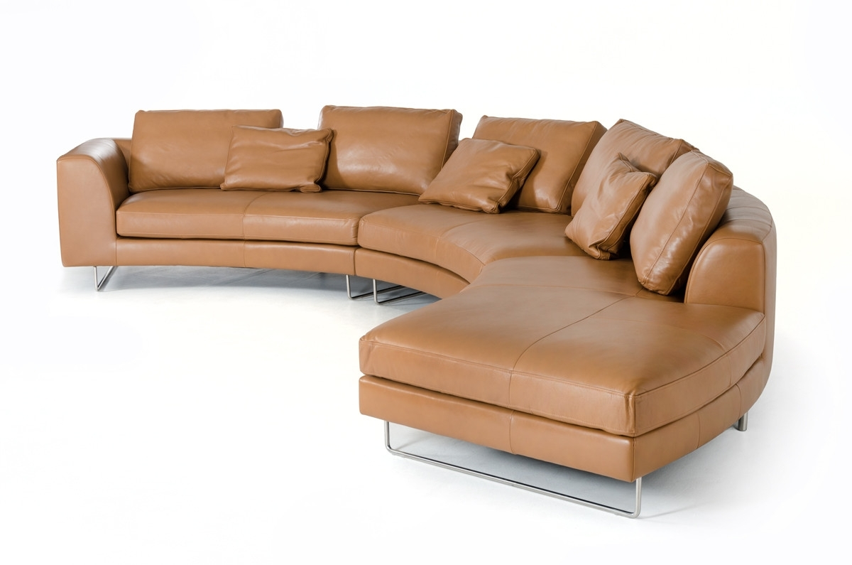 Well Known Camel Colored Sectional Sofas With Regard To Divani Casa Tulip Modern Camel Full Leather Sectional Sofa (View 8 of 15)
