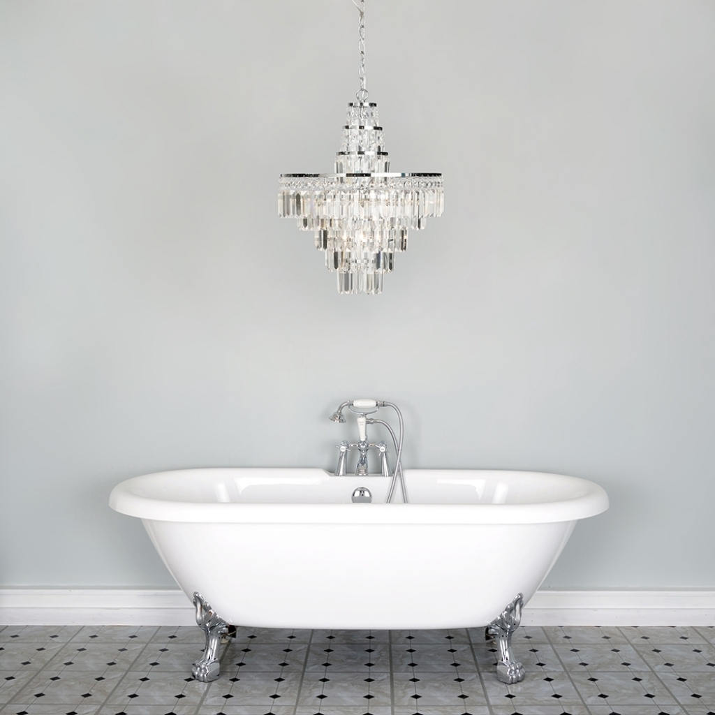 Well Known Chandelier Bathroom Lighting Regarding Attractive Chandelier Bathroom Lighting Vasca Crystal Bar Large (View 15 of 15)