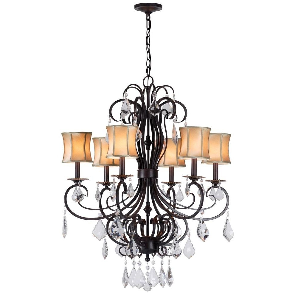 Well Known Chandelier With Shades And Crystals Inside World Imports Annelise 6 Light Bronze Chandelier With Fabric Shades (View 9 of 15)