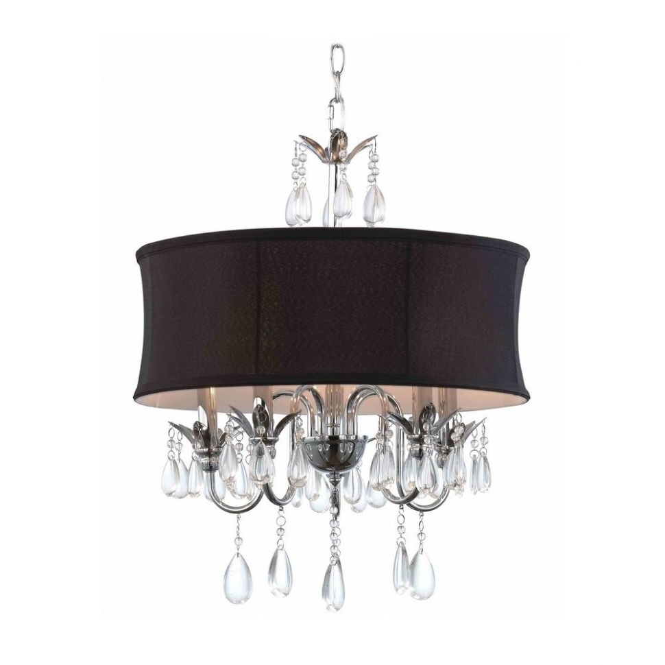 Well Known Chandeliers Design : Marvelous Zoom Drum Pendant Chandelier Black Regarding Chandeliers With Black Shades (View 4 of 15)