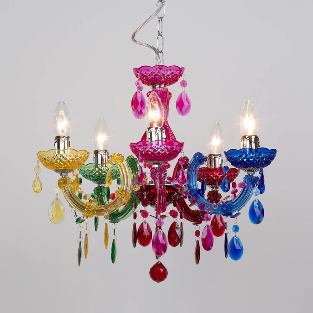 Well Known Coloured Chandeliers Within Marie Therese 5 Light Dual Mount Chandelier – Multicoloured (View 8 of 15)