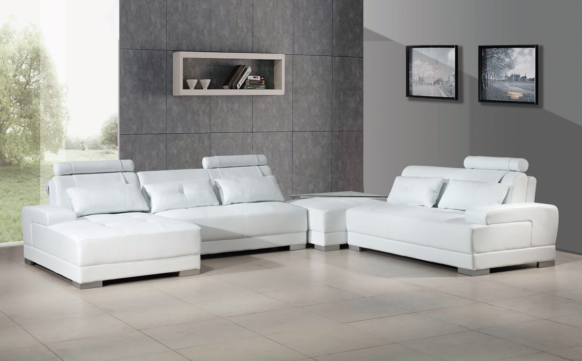Well Known Contemporary White Leather Sectional Sofa W/ottoman Pertaining To Leather Sectional Sofas With Ottoman (View 6 of 15)
