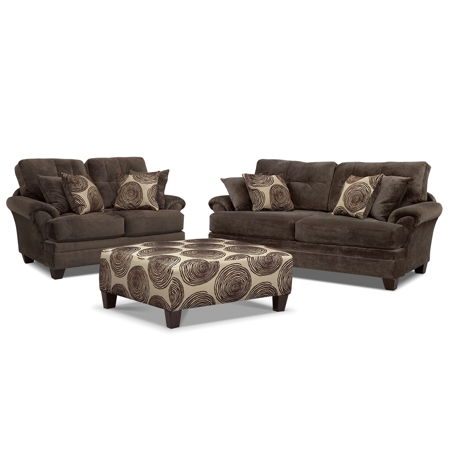 Well Known Cordelle Sofa, Loveseat And Cocktail Ottoman Set – Chocolate Throughout Loveseats With Ottoman (View 14 of 15)