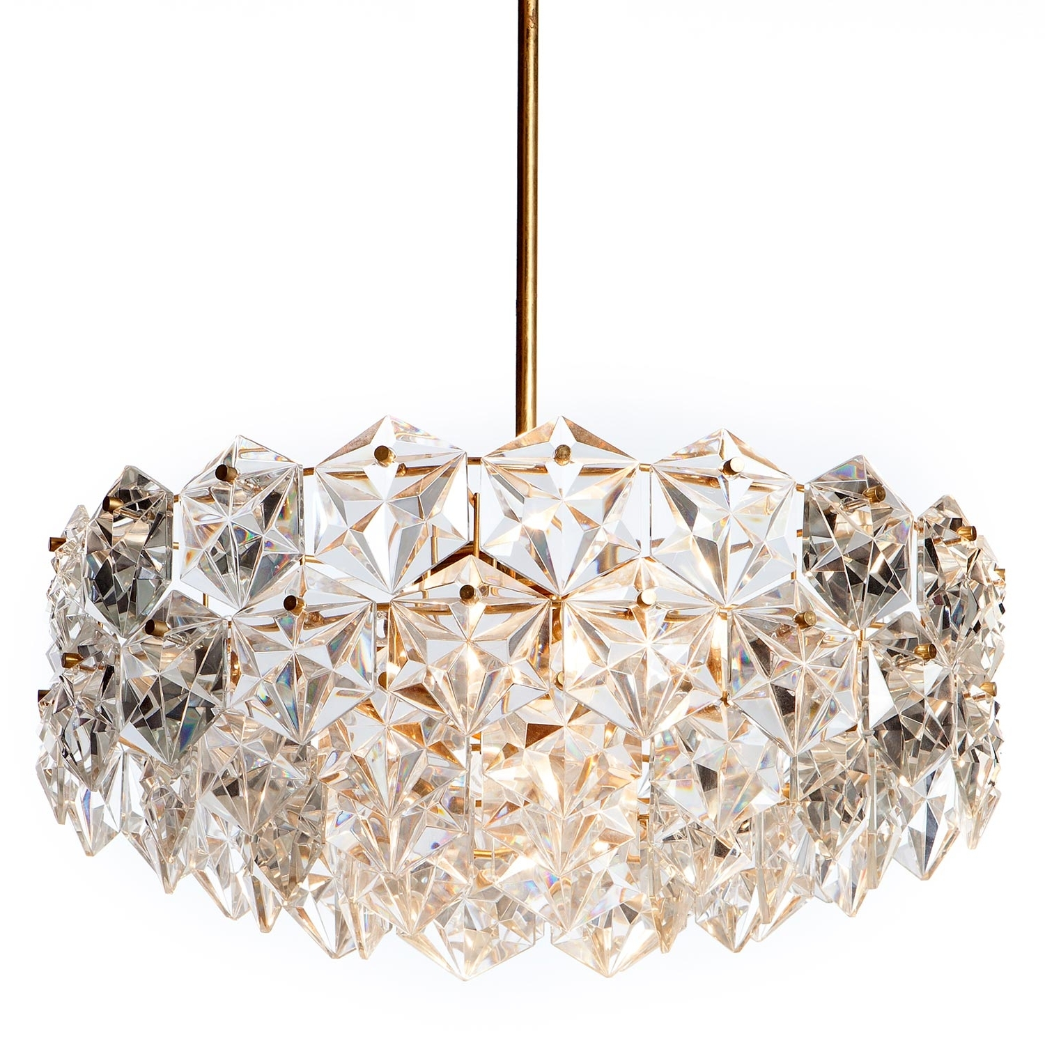 Well Known Crystal And Brass Chandelier With Regard To 1960S Kinkeldey Seven Light Hexagonal Crystal Glass And Gilt Brass (View 13 of 15)