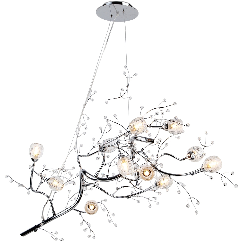 "Well Known Crystal Branch Chandelier Regarding 47"" 12 Light Oval Shaped Tree Twig Branch Flower Crystal (View 15 of 15)"