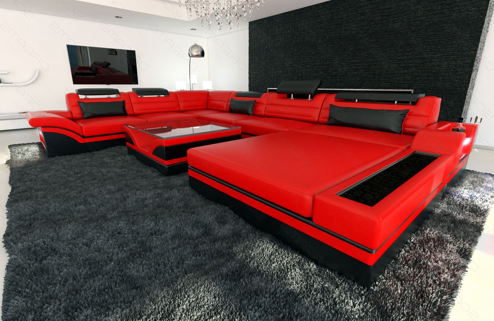 Well Known Design Sectional Sofa Mezzo Xxl With Led Lights Red Black (View 2 of 15)