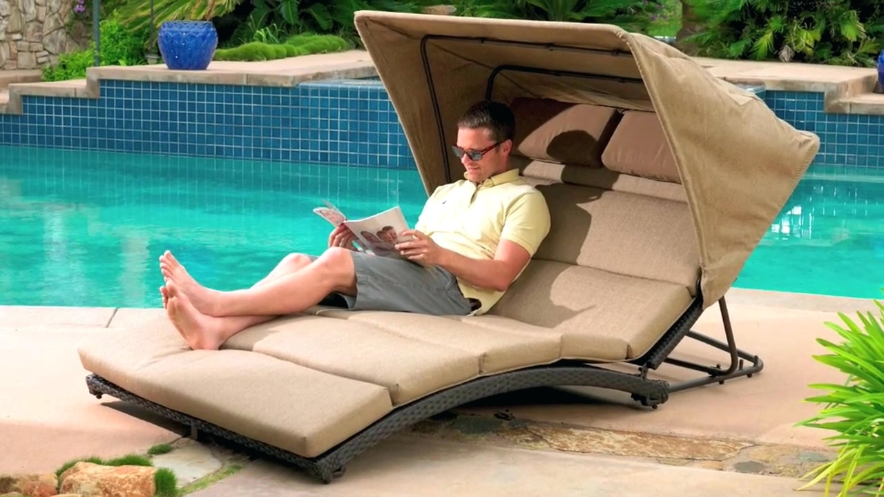 Well Known Double Lounge Chair With Canopy • Lounge Chairs Ideas Throughout Outdoor Chaise Lounge Chairs With Canopy (View 5 of 15)