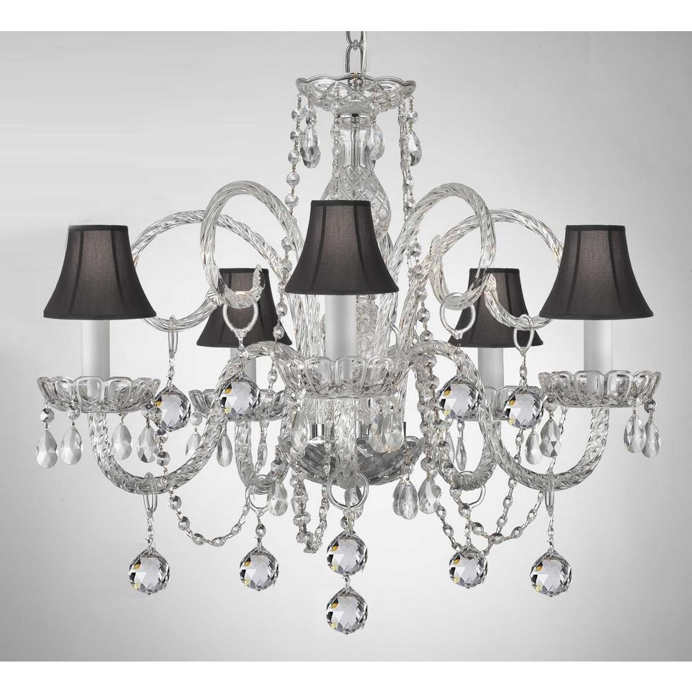 Well Known Empress 5 Light Crystal Chandelier With Black Shades And Crystal Regarding Black Chandeliers With Shades (View 15 of 15)