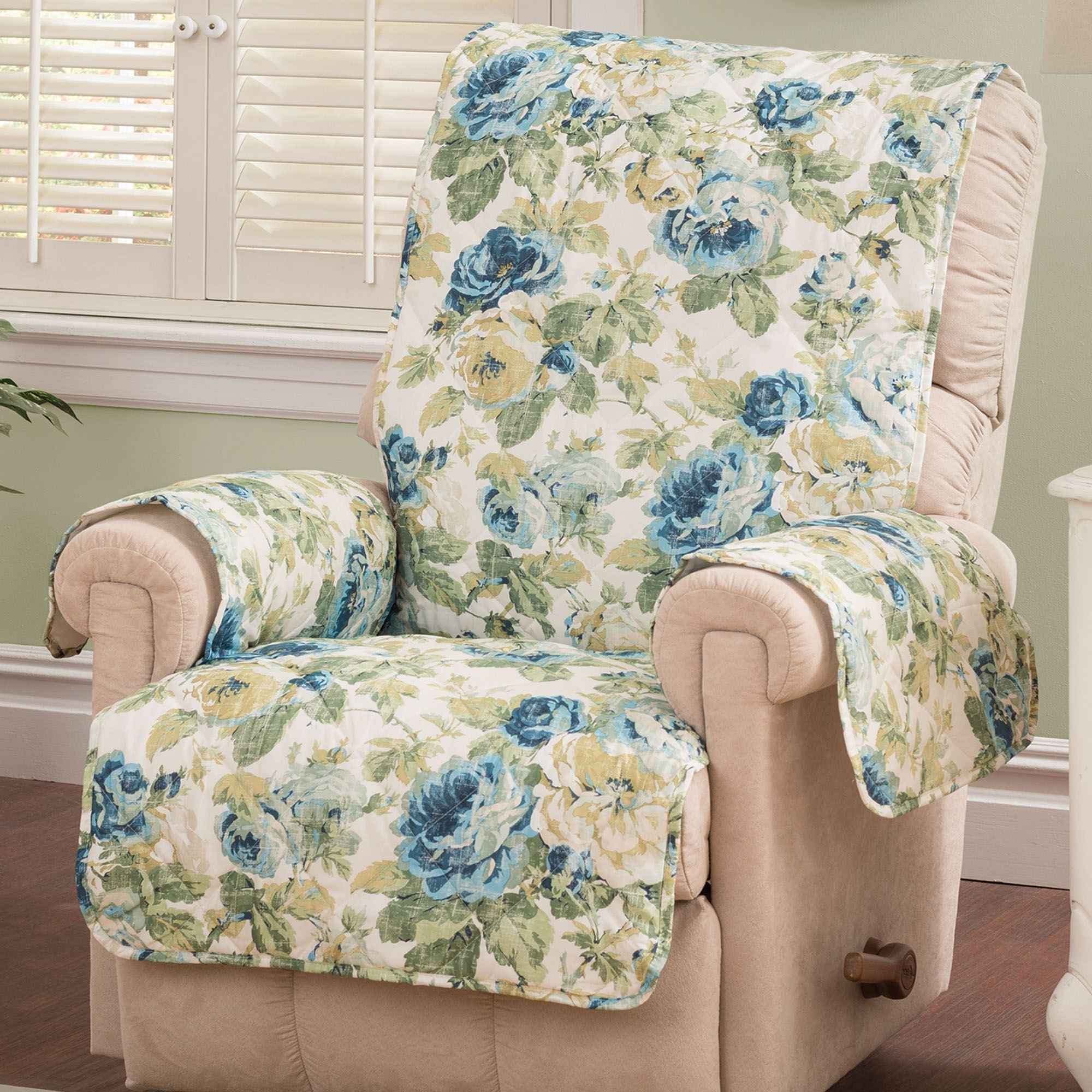 Well Known English Floral Sky Blue Quilted Furniture Protectors Protector With Regard To Floral Sofas And Chairs (View 13 of 15)