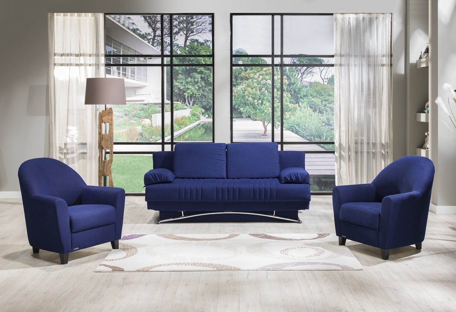 Well Known Fantasy Tetris Blue Sofa & 2 Chairs Setsunset With Blue Sofa Chairs (View 8 of 15)
