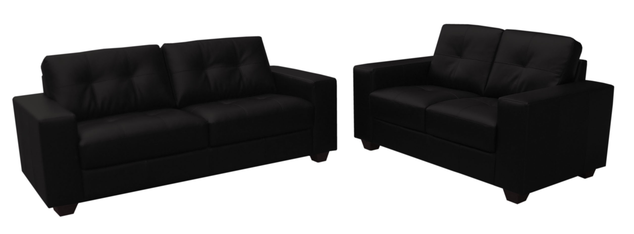 Well Known Faux Black Leather Sofa Two Piece Suite 3+2 Seater – Furniture With Regard To Black 2 Seater Sofas (View 3 of 15)