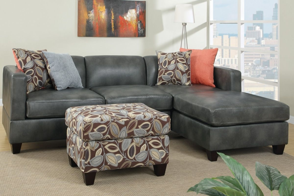Well known Faux Leather Sectional Sofas intended for Odessa Gray Faux Leather Sectional Sofa - Steal-A-Sofa Furniture