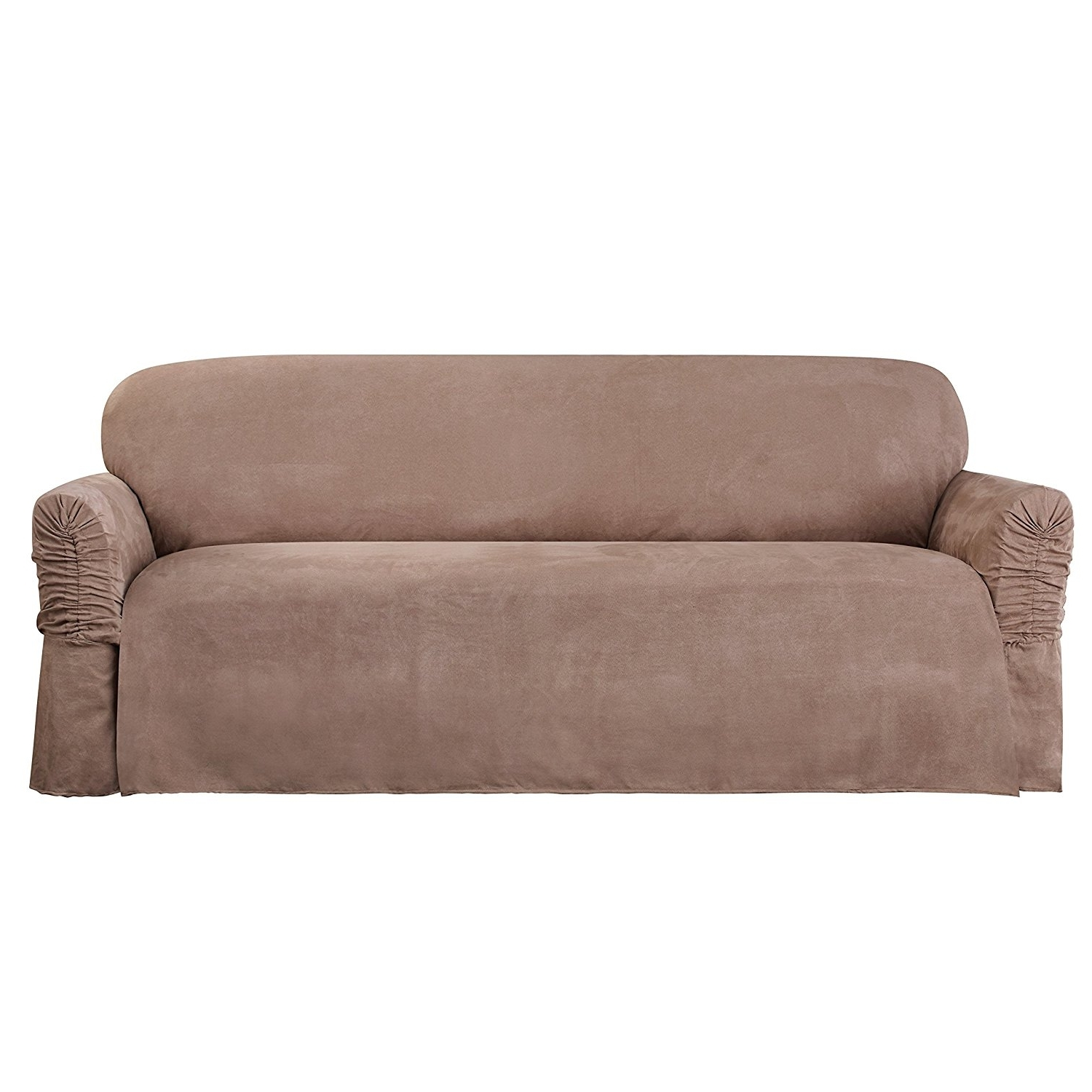 Well Known Faux Suede Sofas With Amazon: Sure Fit Faux Suede – Sofa Slipcover – Taupe (Sf (View 6 of 15)