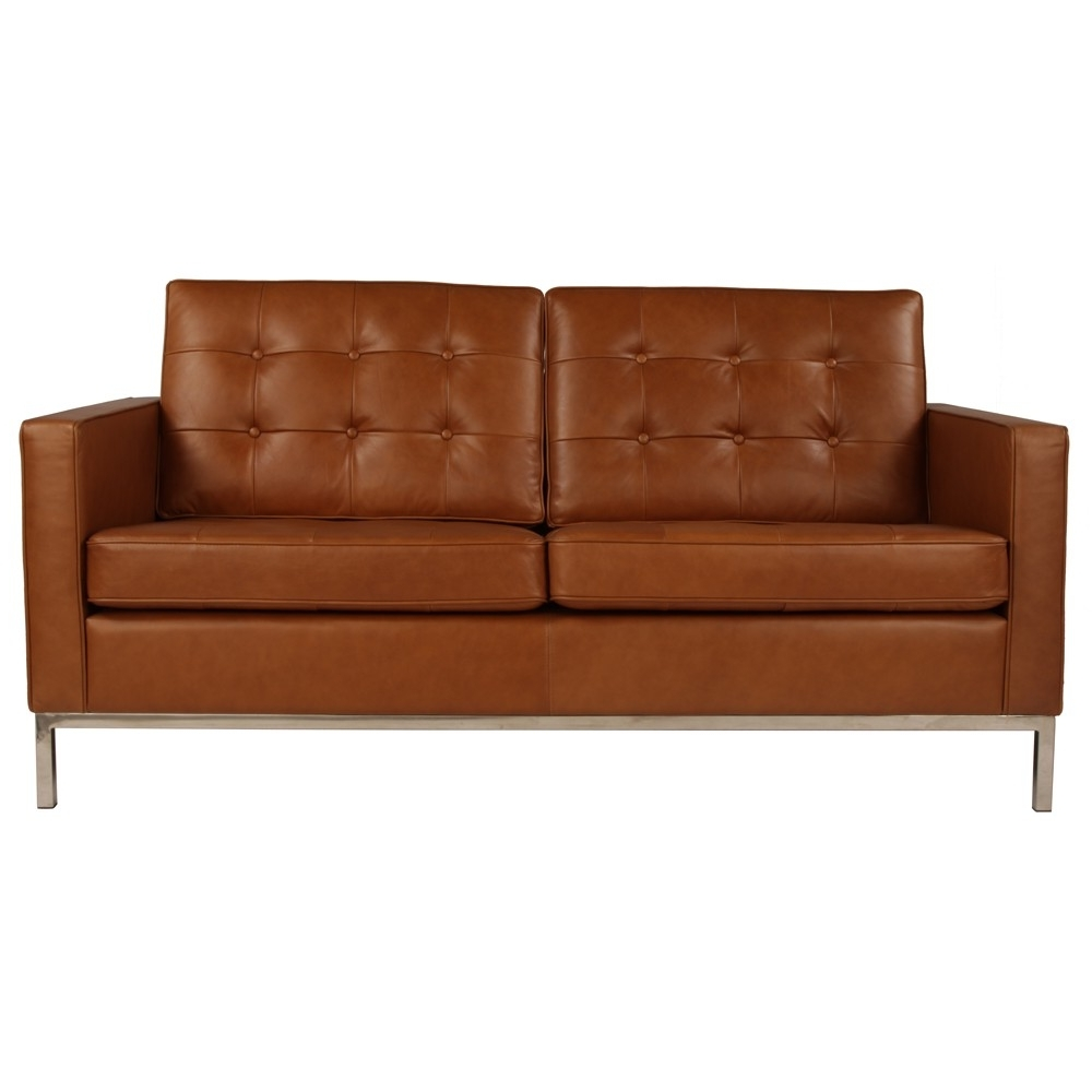 Well Known Florence Leather Sofas Regarding Florence Knoll Sofa 2 Seater Sofa Replica In Leather Commercial (View 11 of 15)