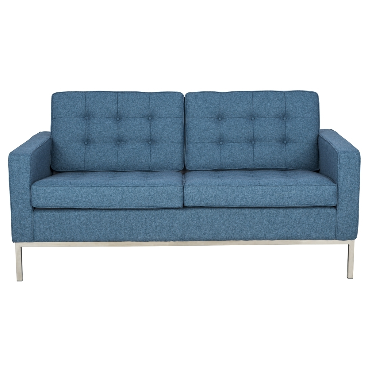 Well Known Florence Sofas And Loveseats Regarding Modern Florence Style Loveseat Sofa In Blue Tweed Cashmere Wool (View 9 of 15)