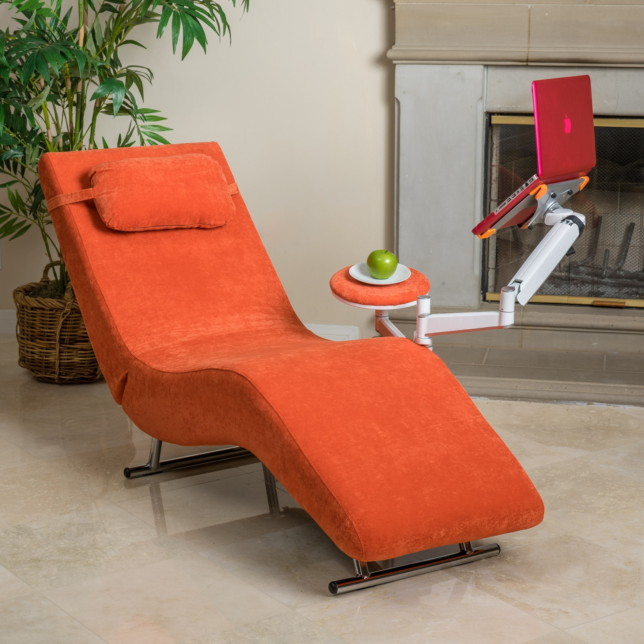 Well Known Furniture: Eason Burnt Orange Accent Chair Armless Wing Chair Plus Throughout Orange Chaise Lounges (View 14 of 15)