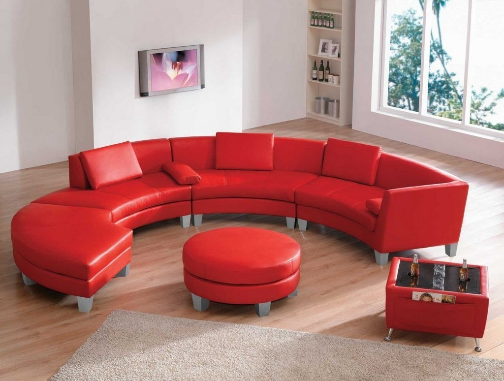 Well Known Furniture Living Room Curved Red Top Grain Leather Sectional Sofa Pertaining To Red Leather Sectionals With Ottoman (View 13 of 15)