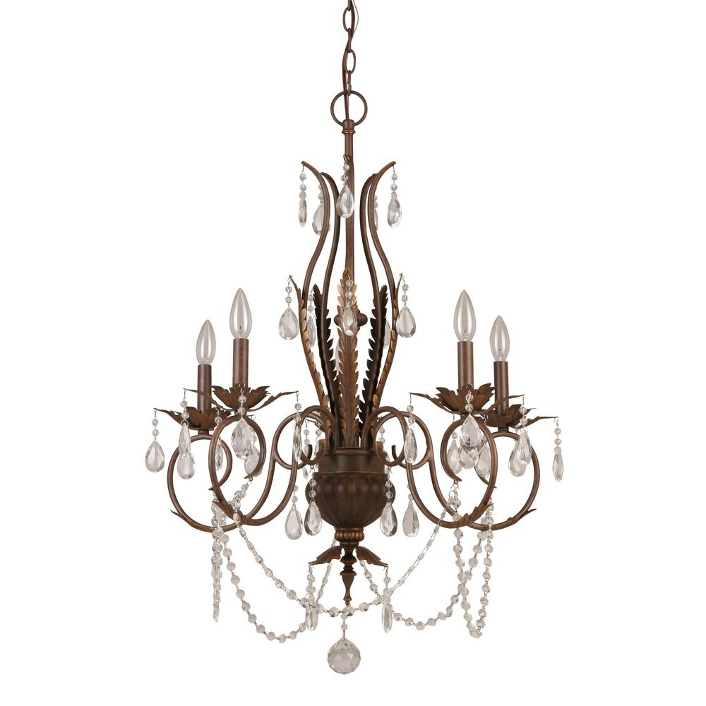 Well Known Hampton Bay 5 Light Bronze Crystal Chandelier Bvb9115A – The Home Depot Throughout Bronze And Crystal Chandeliers (View 6 of 15)