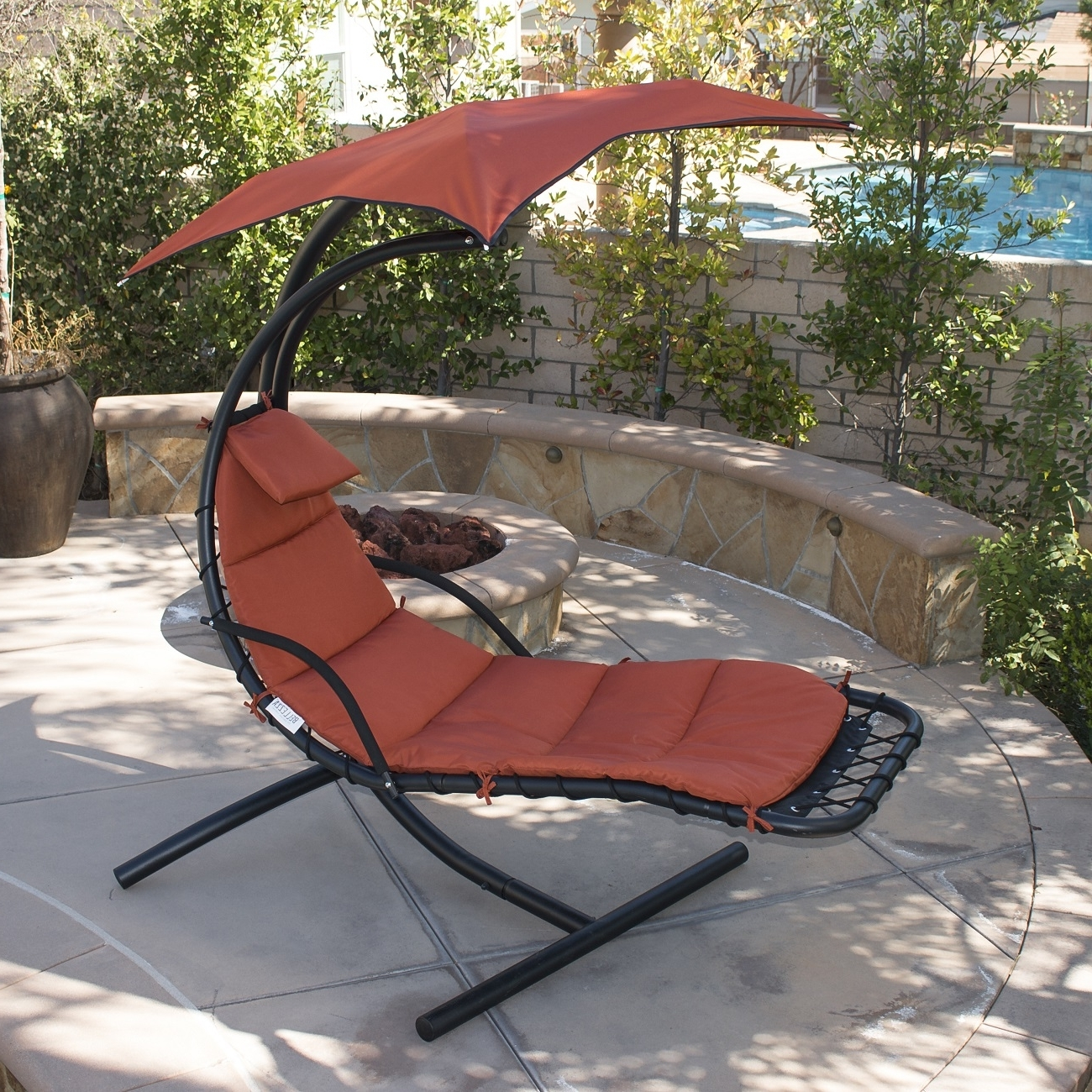 Well Known Hanging Chaise Lounge Chair Hammock Swing Canopy Glider Outdoor Pertaining To Chaise Lounge Swing Chairs (View 5 of 15)
