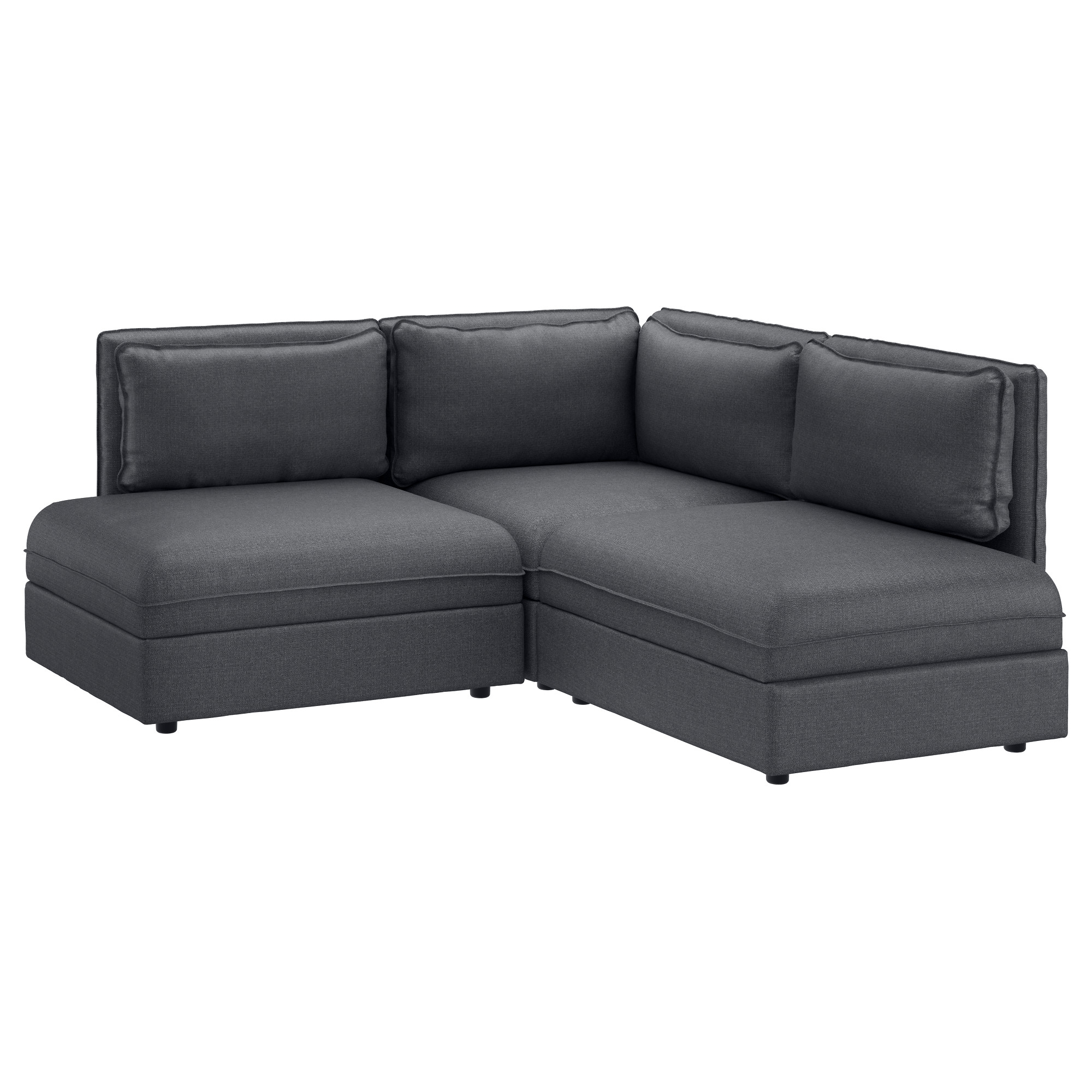 Well Known Ikea Corner Sofas With Storage For Vallentuna 3 Seat Corner Sofa Hillared Dark Grey – Ikea (View 14 of 15)