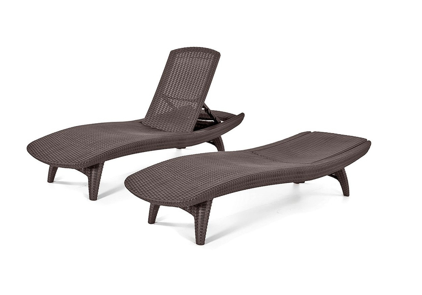 Well Known Keter Chaise Lounge Chairs Pertaining To 2 Chaise Keter Lounge Chairs Outdoor Brown Wicker Adjustable Back (View 9 of 15)