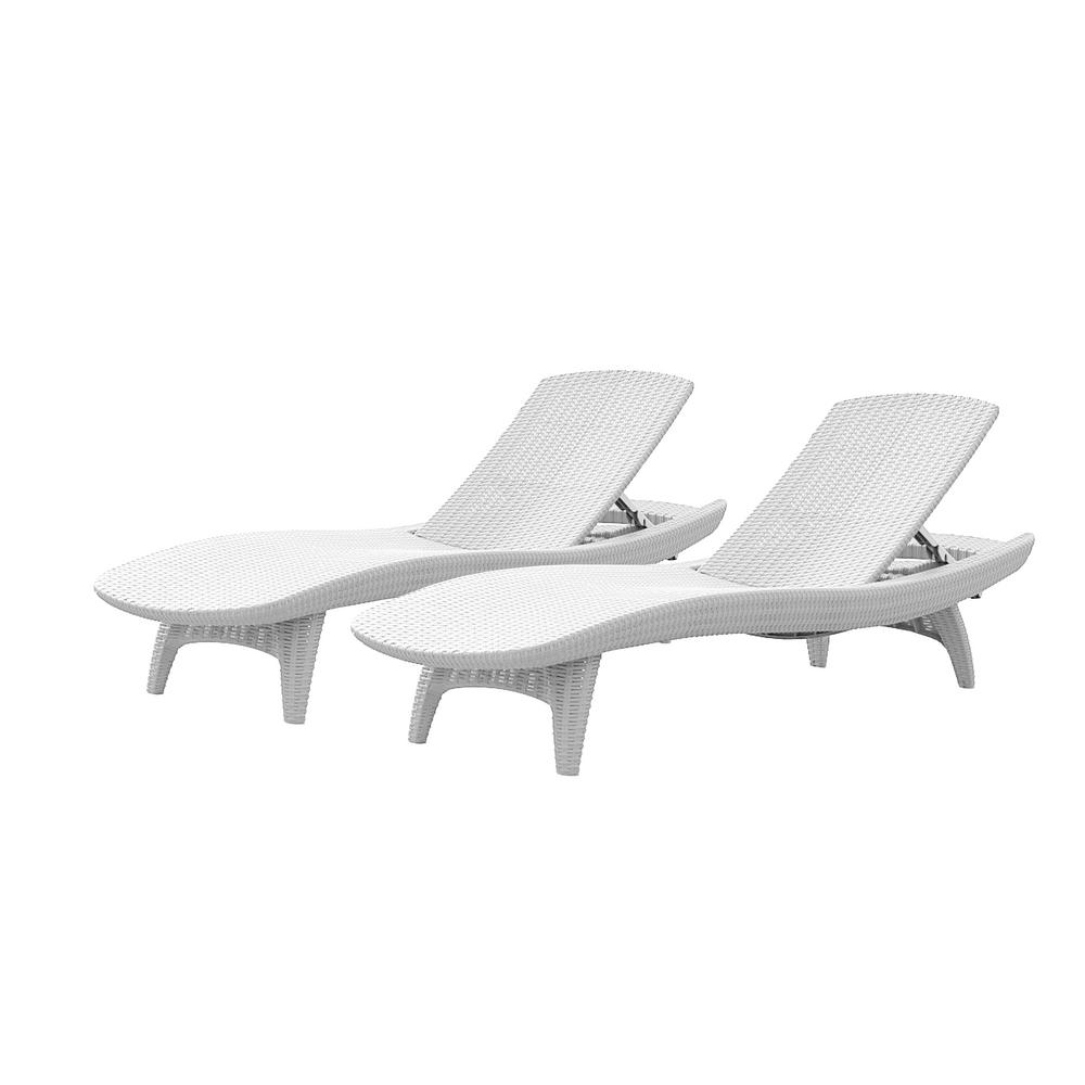 Well Known Keter Pacific Oasis White All Weather Adjustable Resin Outdoor Pertaining To White Wicker Chaise Lounges (View 9 of 15)