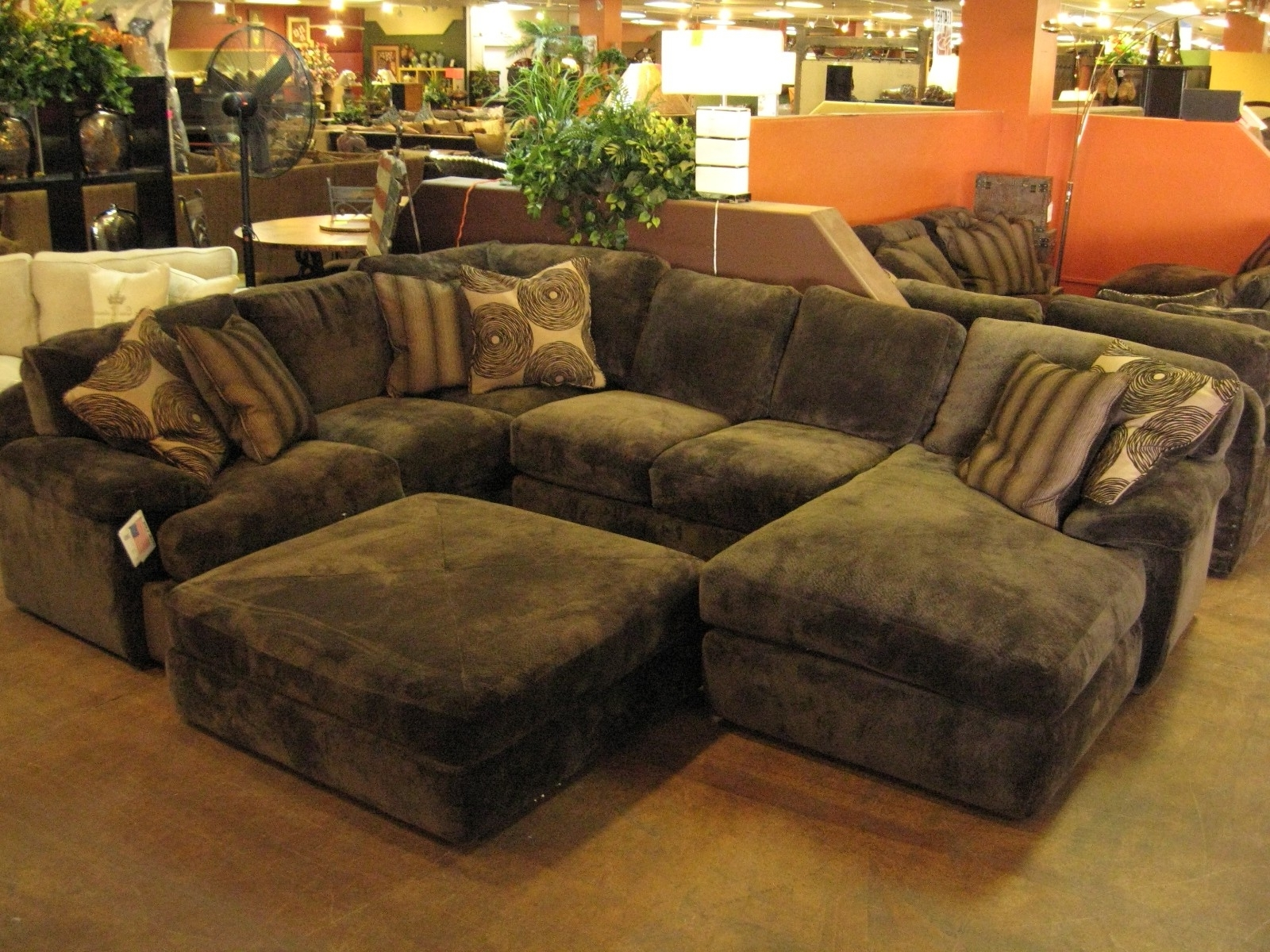Well Known Leather Sectionals With Chaise And Ottoman With Best Furniture Stores Brown Velvet Sectional Sleeper Sofa With F (View 7 of 15)