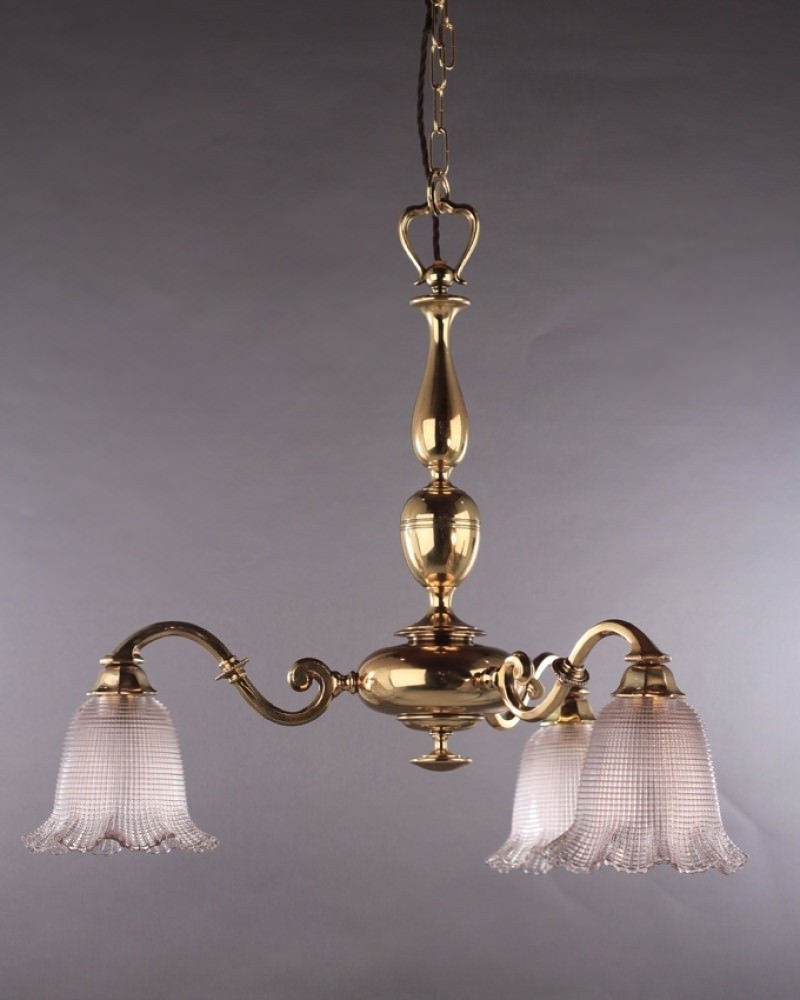 Well Known Lighting, Cast Brass Edwardian Chandelier With Holophane Shades Intended For Edwardian Chandelier (View 13 of 15)