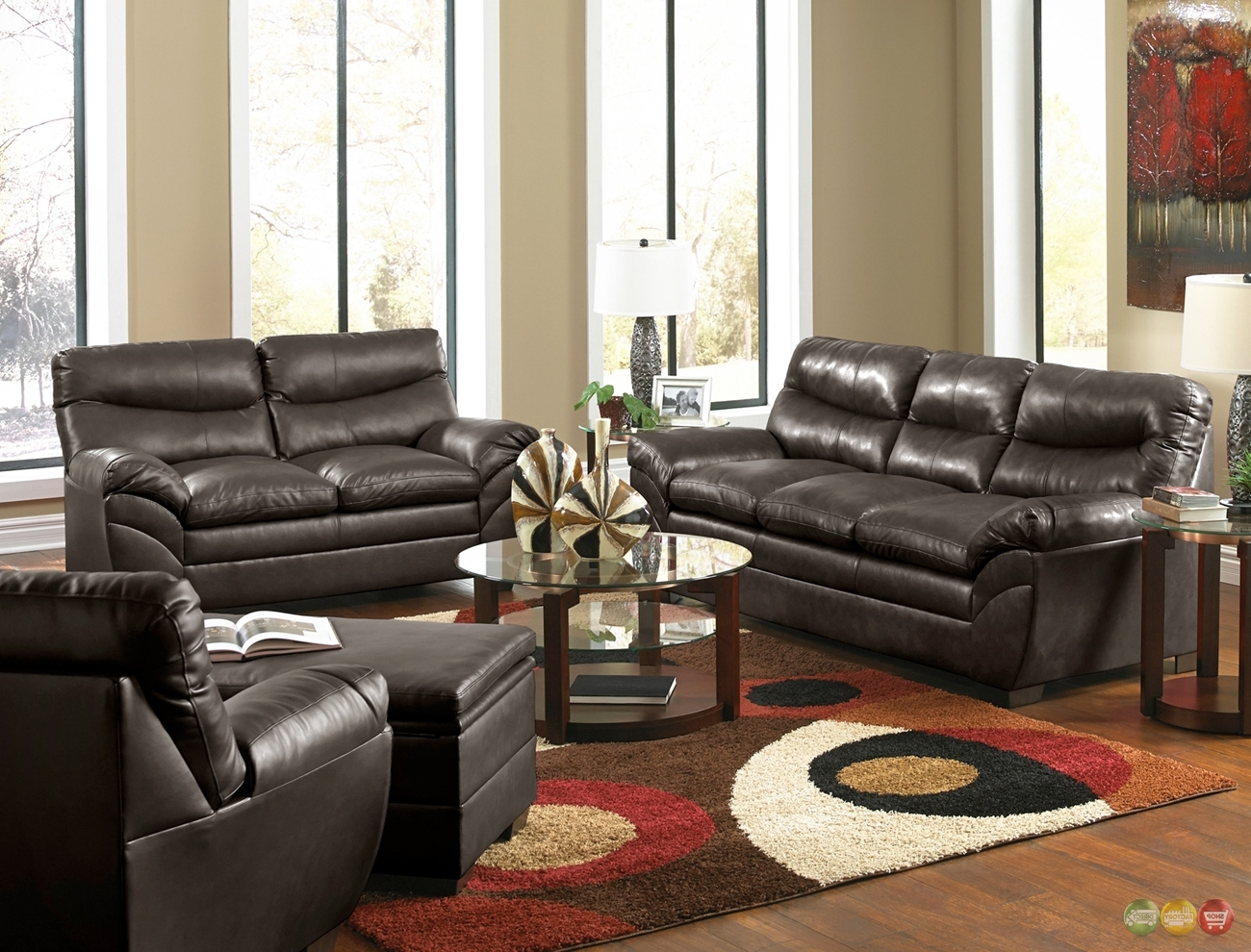 Well Known Living Room : Casual Contemporary Brown Bonded Leather Sofa Set With Regard To Casual Sofas And Chairs (View 13 of 15)