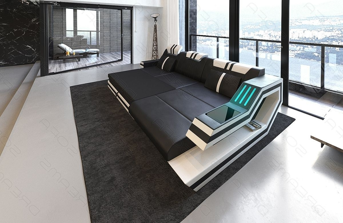 Well Known Luxury Sectional Sofas With Regard To Modern Sectional Fabric Sofa Hollywood L Shape With Led And Usb (View 5 of 15)