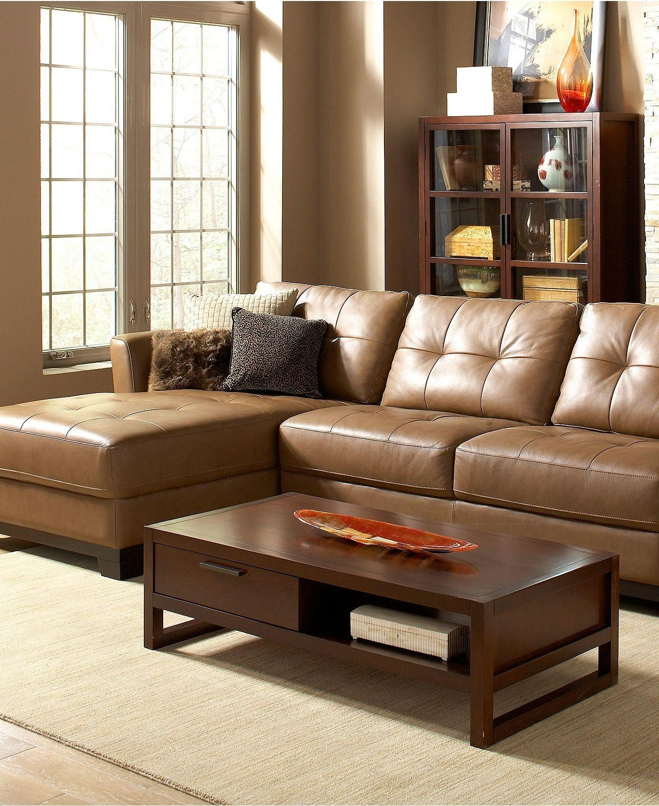 Well Known Martino Leather Sectional Living Room From Macys (View 9 of 15)