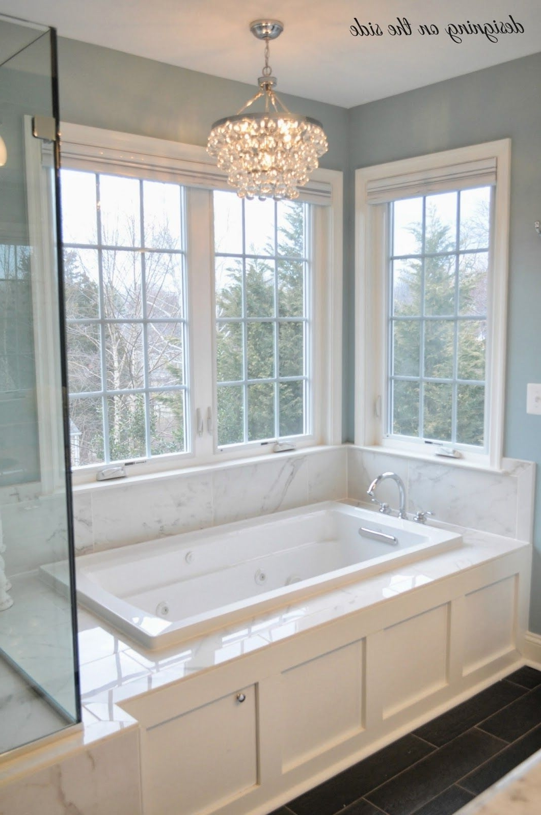 Well Known Master Bath, Marble Tile, Sw Rain, Crystal Chandelier, Tile That Throughout Chandelier In The Bathroom (View 15 of 15)