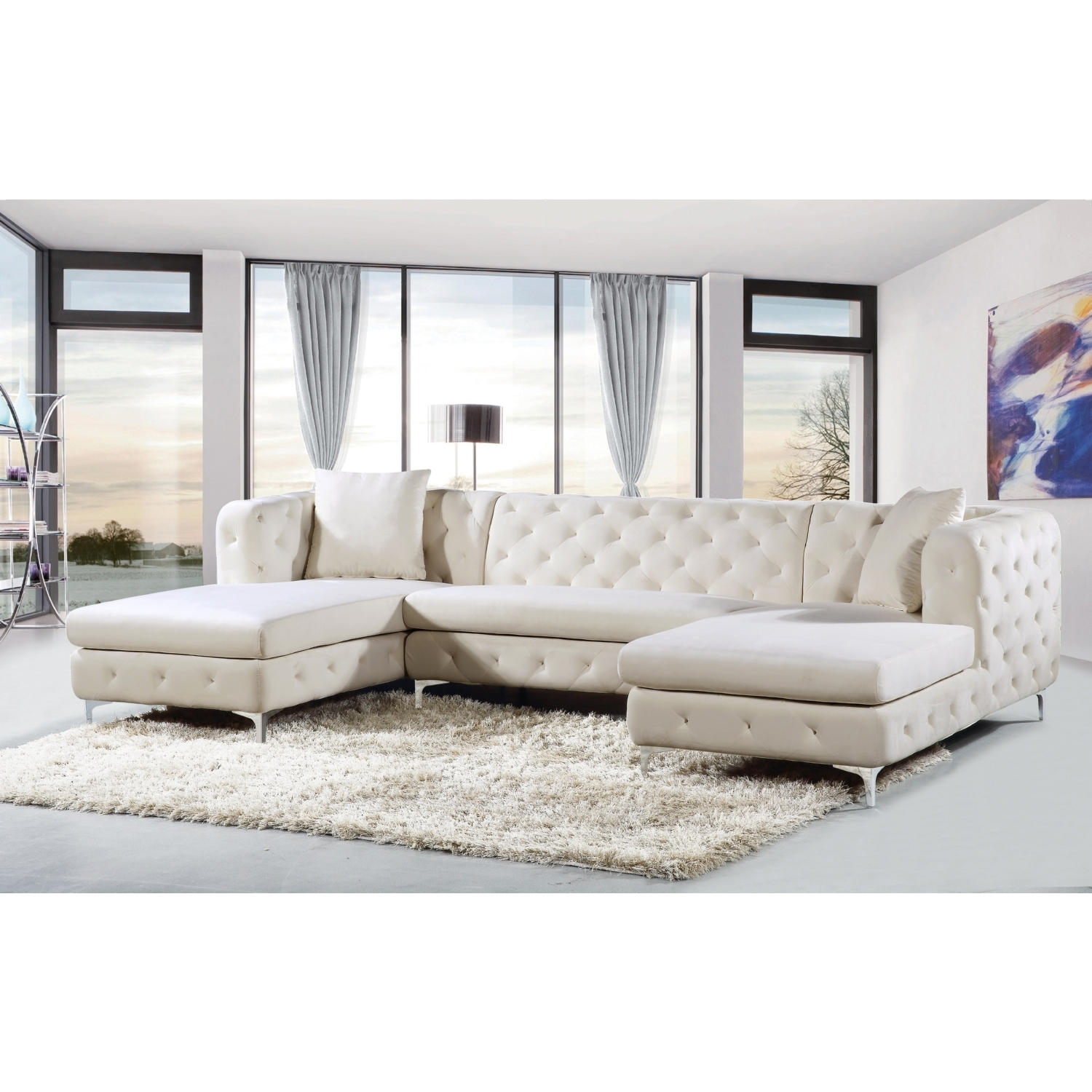 Well Known Meridian Furniture 664Cream Sectional Gail 3 Piece Double Chaise Pertaining To Double Chaise Sofas (View 11 of 15)