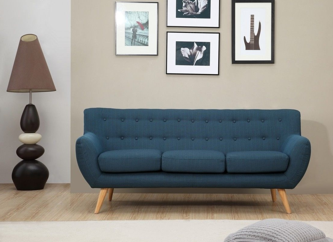 Well Known Mid Range Sofas Throughout Sixties 3 Seater Sofa – Petrol Blue (View 8 of 15)