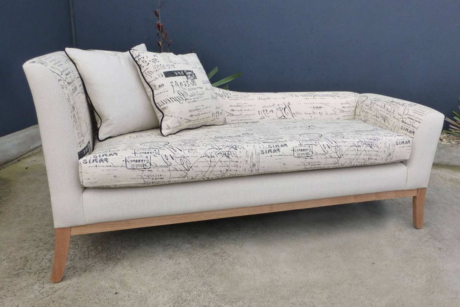 Well Known Modern Chaise Lounge With Script Fabric – Timeless Interior Designer In Fabric Chaise Lounges (View 15 of 15)