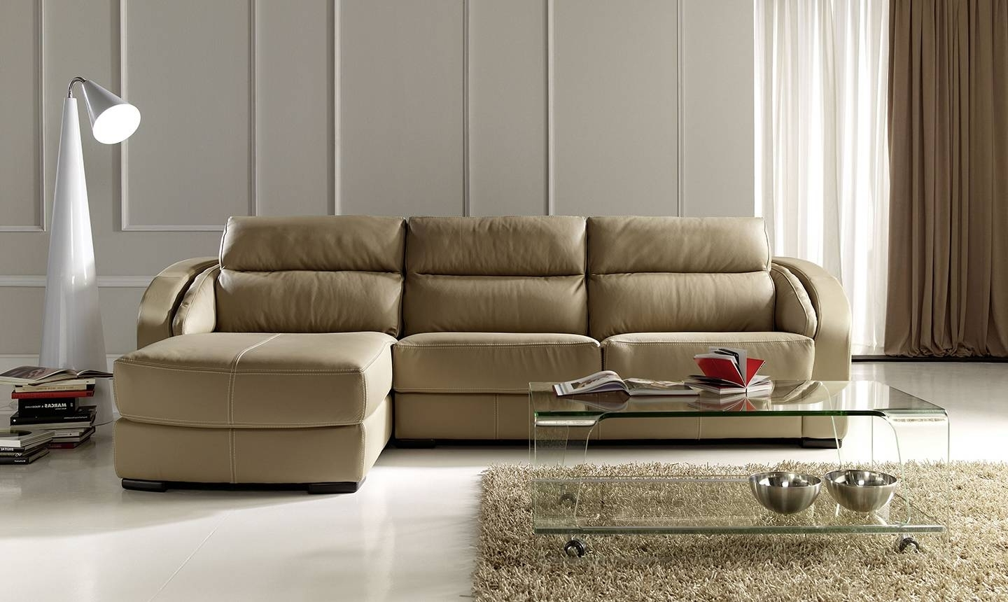 Well Known Modern Style Apartment Size Leather Sectional Sofa And Exquisite With Regard To Virginia Beach Sectional Sofas (View 14 of 15)