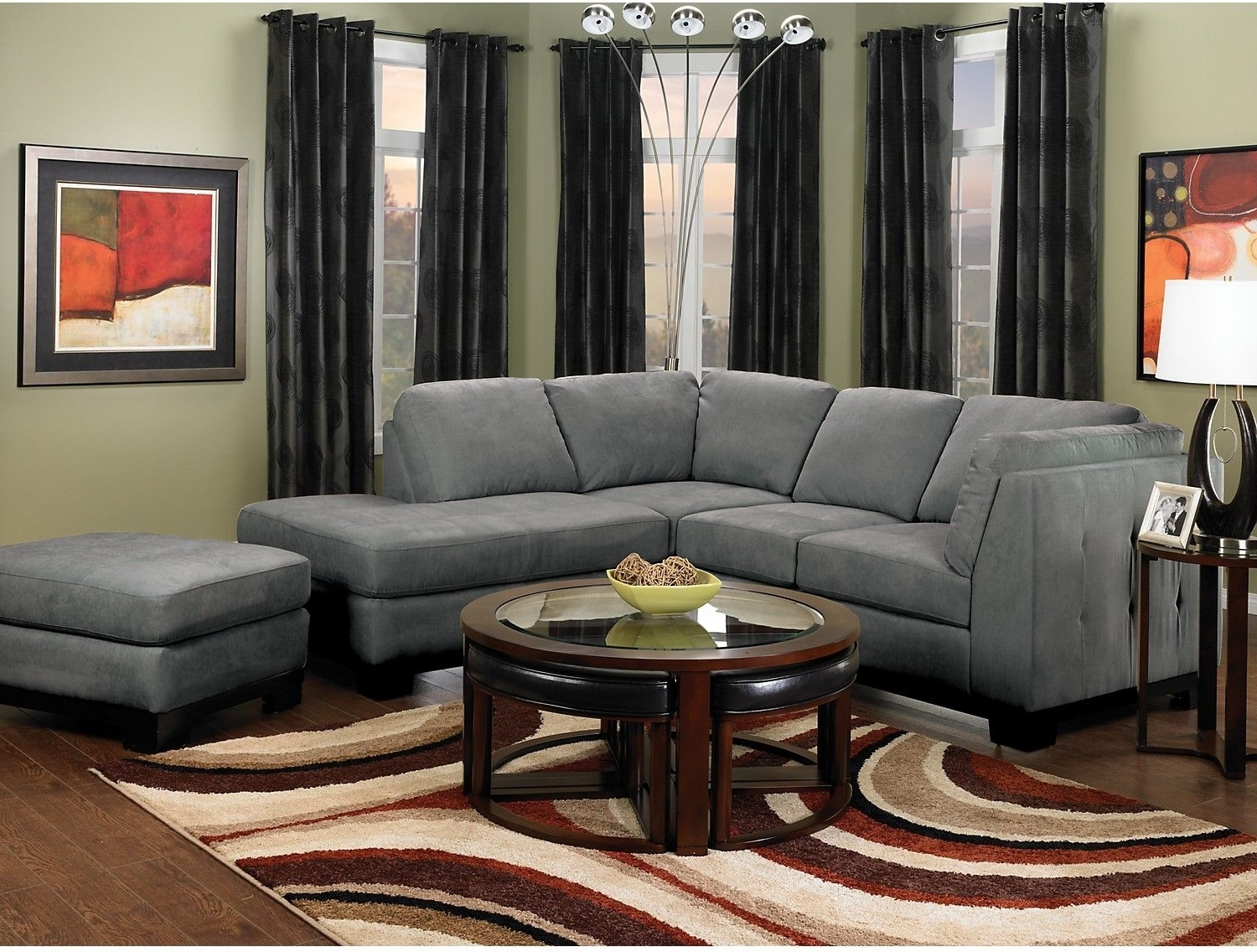 Well Known Oakdale 2 Piece Microsuede Sectional W/right Facing Chaise – Grey Regarding Sectional Sofas At The Brick (View 13 of 15)
