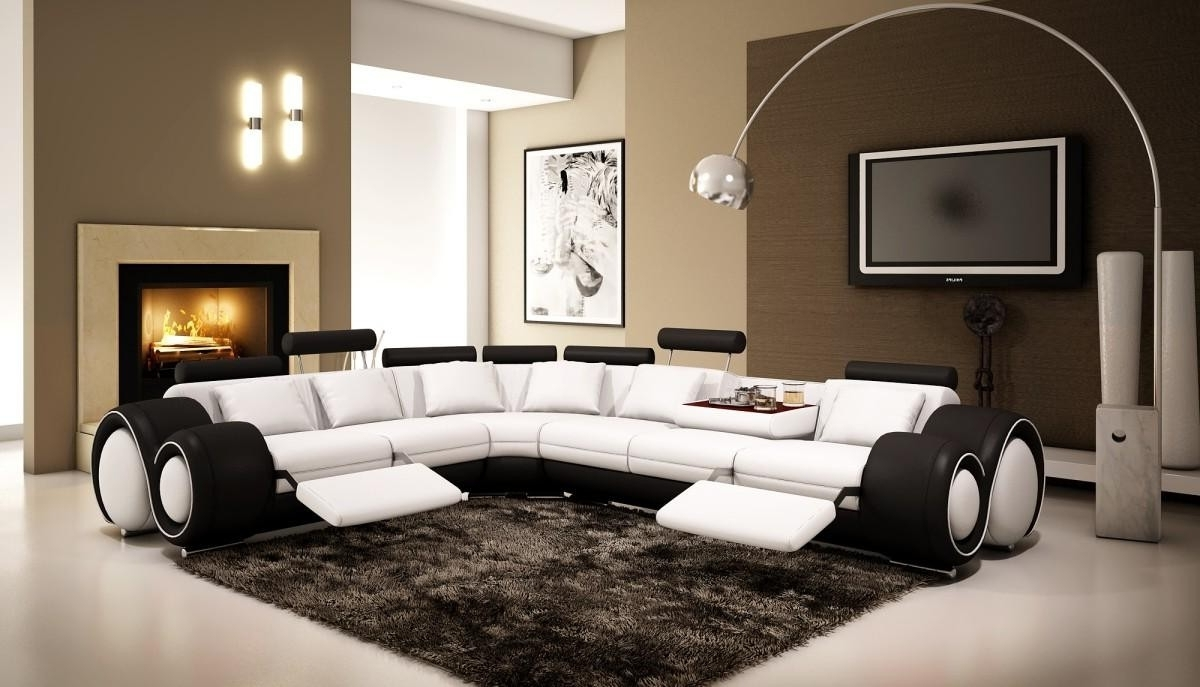 Well Known Ottawa Sale Sectional Sofas Inside 4087 – Black And White Half Leather Sectional Sofa With Recliners (View 12 of 15)