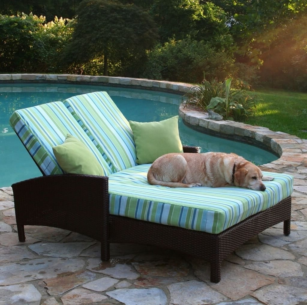 Well Known Outdoor: Outdoor Wicker Double Chaise Lounge With Stripped Cushion Regarding Double Chaise Lounge Cushions (View 15 of 15)