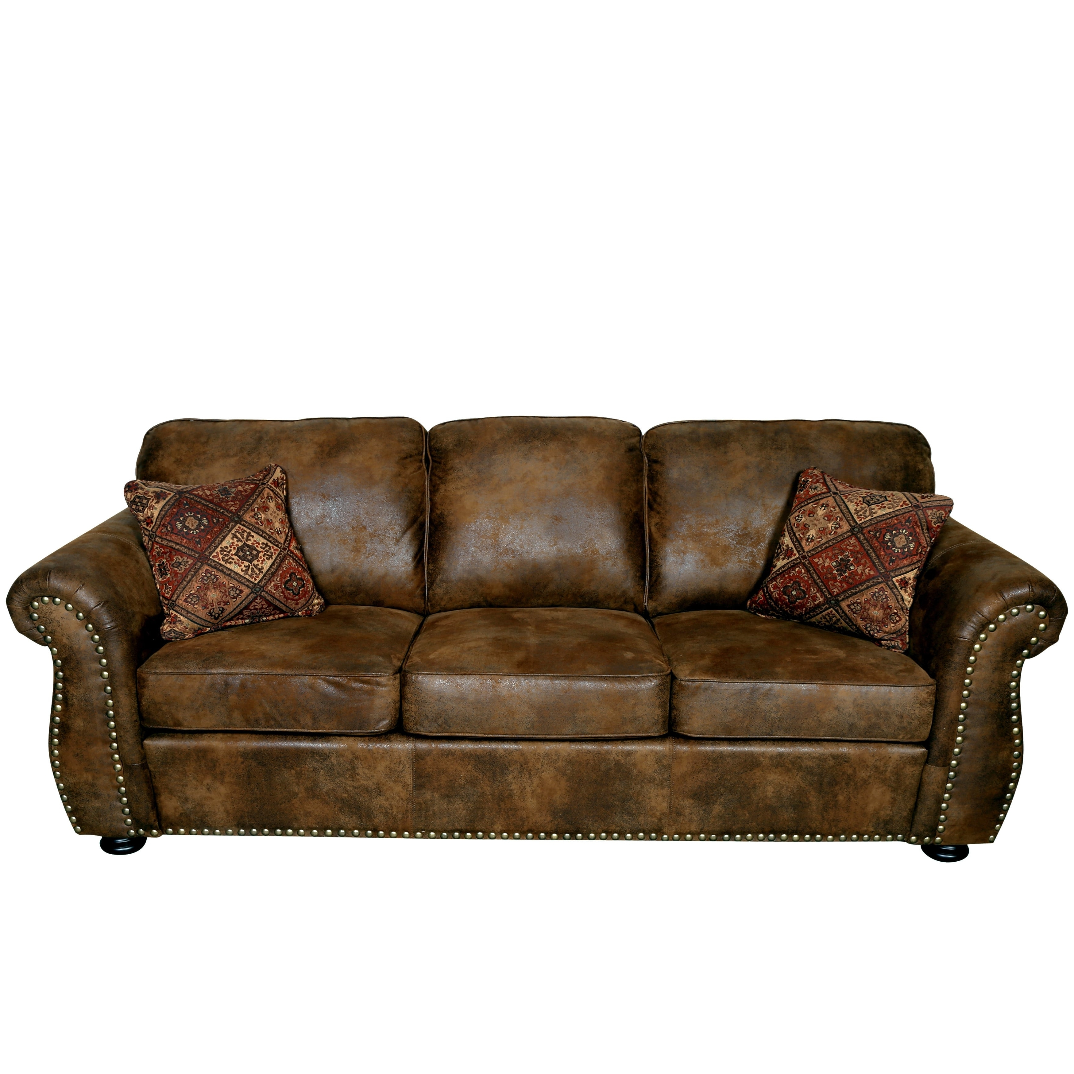 Well Known Porter Elk River Brown Microfiber Faux Suede Leather Sofa With 2 Regarding Faux Suede Sofas (View 4 of 15)
