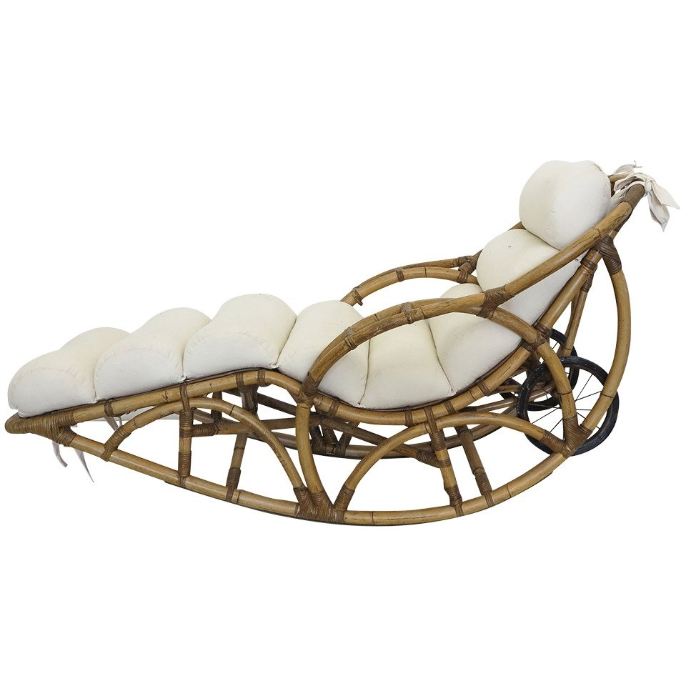 Well Known Rattan Chaise Lounges Pertaining To Vintage Rattan Chaise Lounge Rocking Chair, Circa 1930S At 1Stdibs (View 13 of 15)