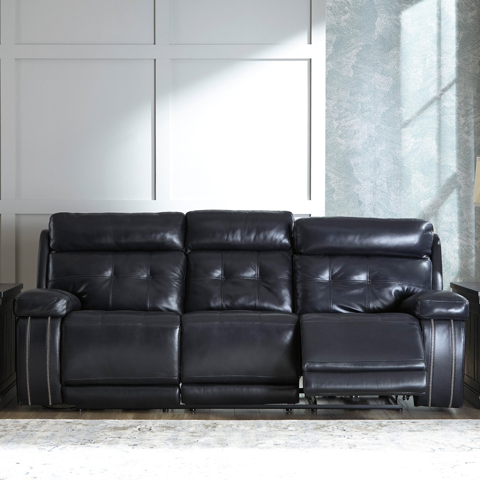 Well Known Recliner Sofas Regarding Graford Navy Power Recliner Sofa With Adjustable Headrest For (View 7 of 15)