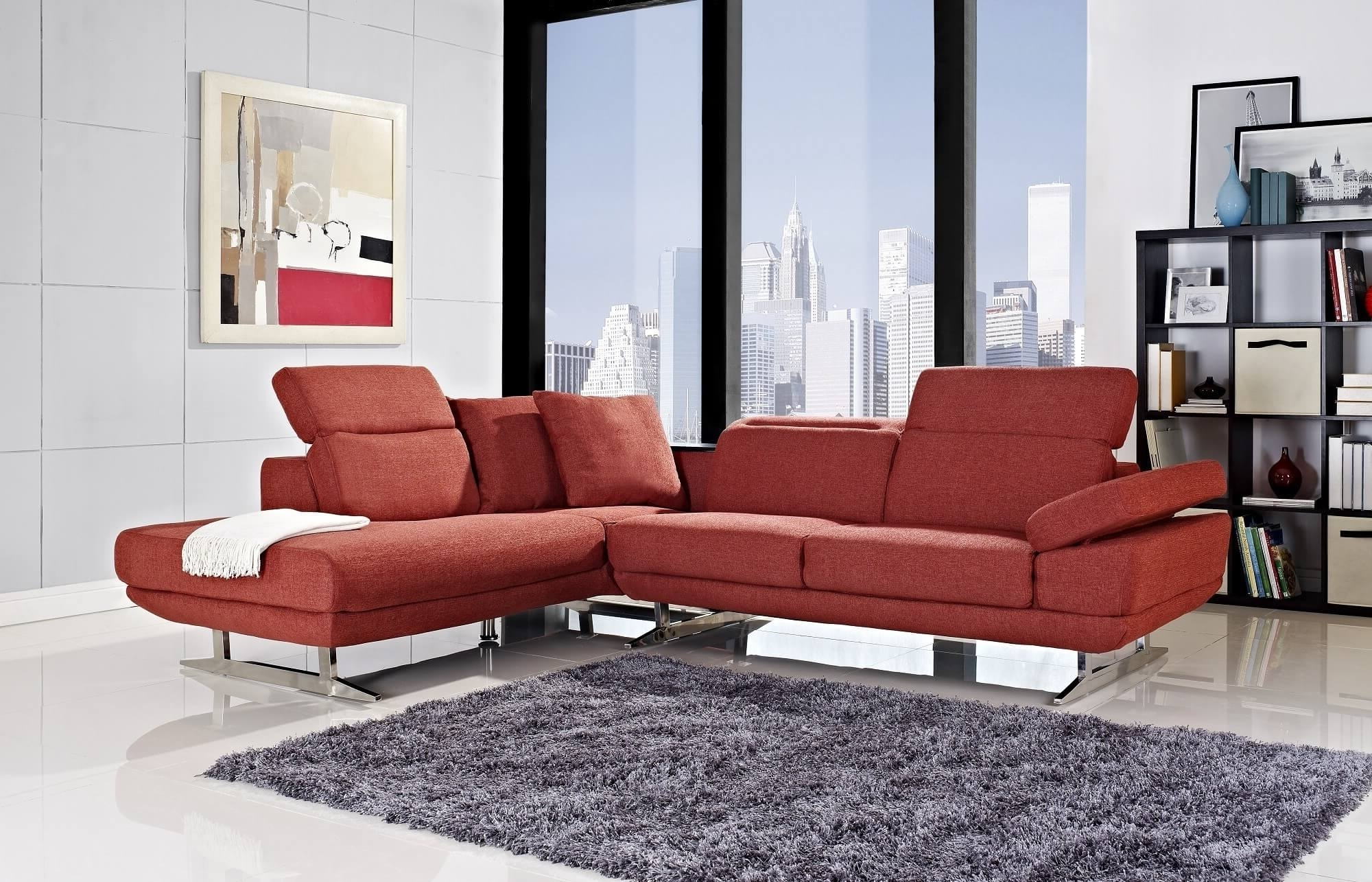 Well Known Red Faux Leather Sectionals Intended For Red Sectional Sofa. Red Faux Leather Sectional Sofa (View 13 of 15)