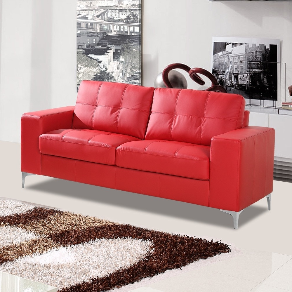 Well Known Red Leather Couches With Regard To Furniture: Modern Scandinavian Living Room With Red Leather (View 15 of 15)