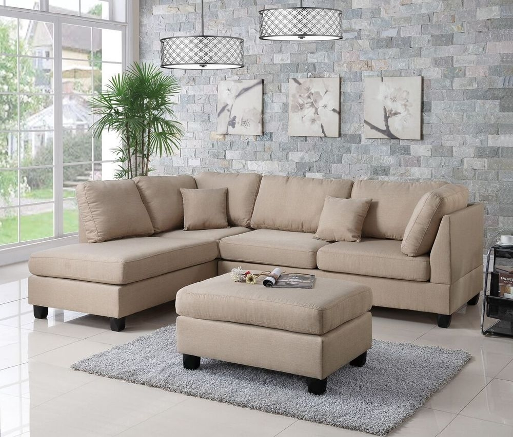 Well Known Reversible Chaises Inside Sofa Reversible L/r Chaise &ottoman 3Pc Sectional Set Living Room (View 9 of 15)