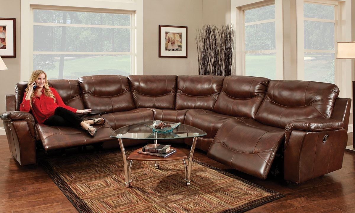 Well Known Richmond Va Sectional Sofas For Franklin Pinehurst 6 Pc Leather Reclining Storage Sectional Sofa (View 14 of 15)