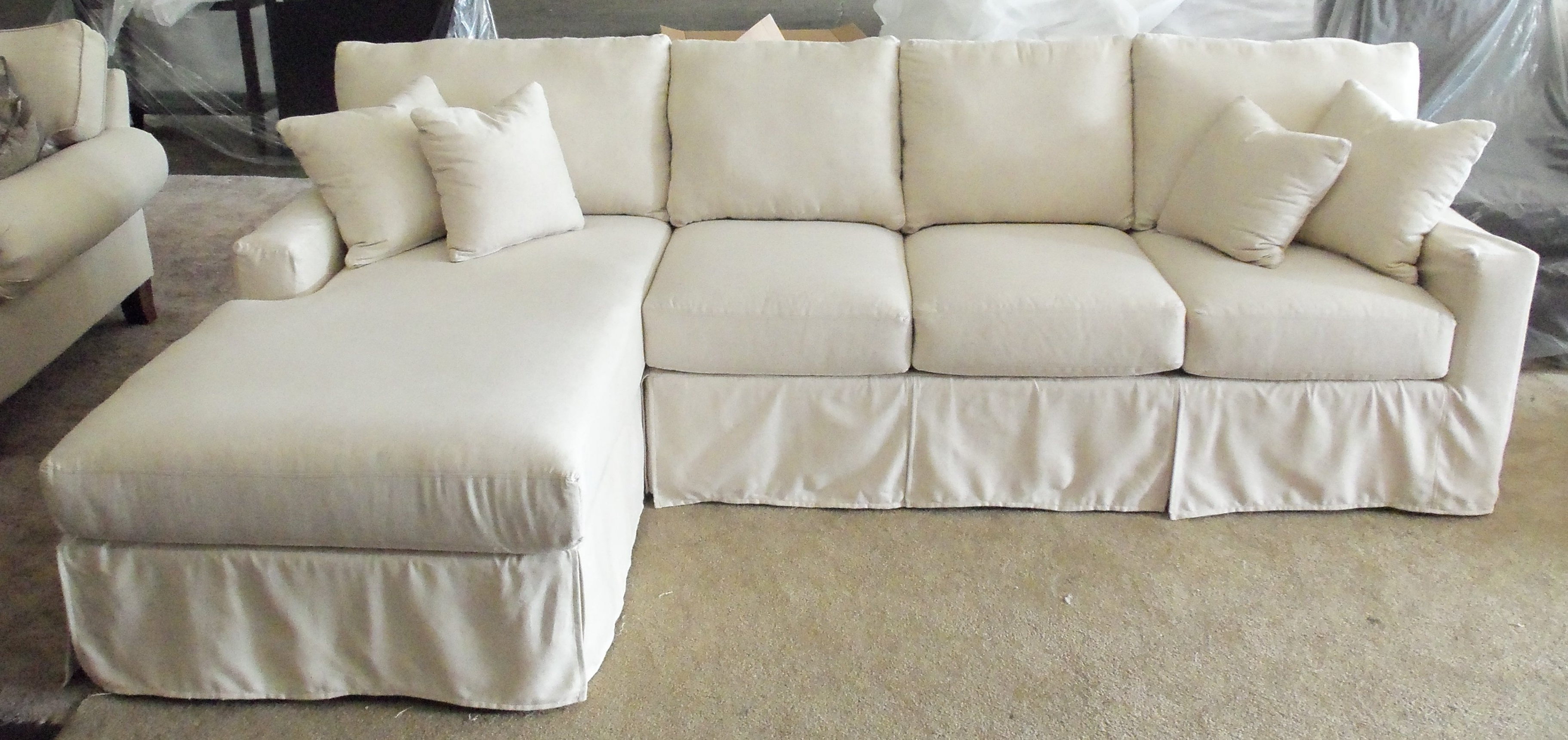 Well Known Sectional Sofa With Microfiber Chaise Together Loveseat In Throughout Chaise Slipcovers (View 4 of 15)