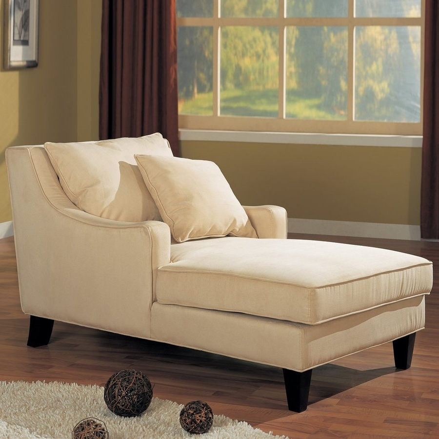 Well Known Shop Coaster Fine Furniture Beige/cappuccino Microfiber Chaise Pertaining To Cream Chaise Lounges (View 13 of 15)